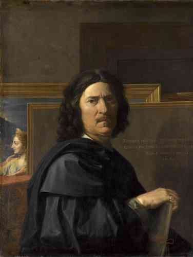 «Poussin n'estimait pas le portrait mais finit par accepter de se peindre lui-même pour deux de ses mécènes français. Il précise son âge, 56 ans, son lieu de naissance, Les Andelys, et la date du tableau, 1650. C'est l'image rigoureuse et sans concession d'un artiste conscient de son génie que seules des paupières rougies viennent humaniser.»
