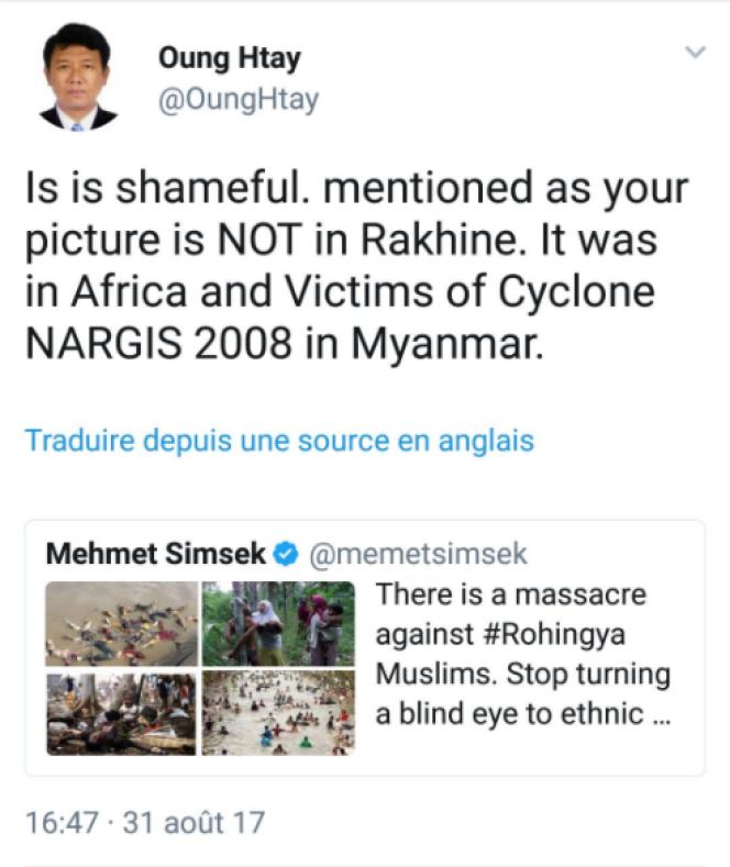 Le vice-premier ministre Turc Mehmet Simsek a diffusé des photographies mal attribuées sur les Rohingyas.