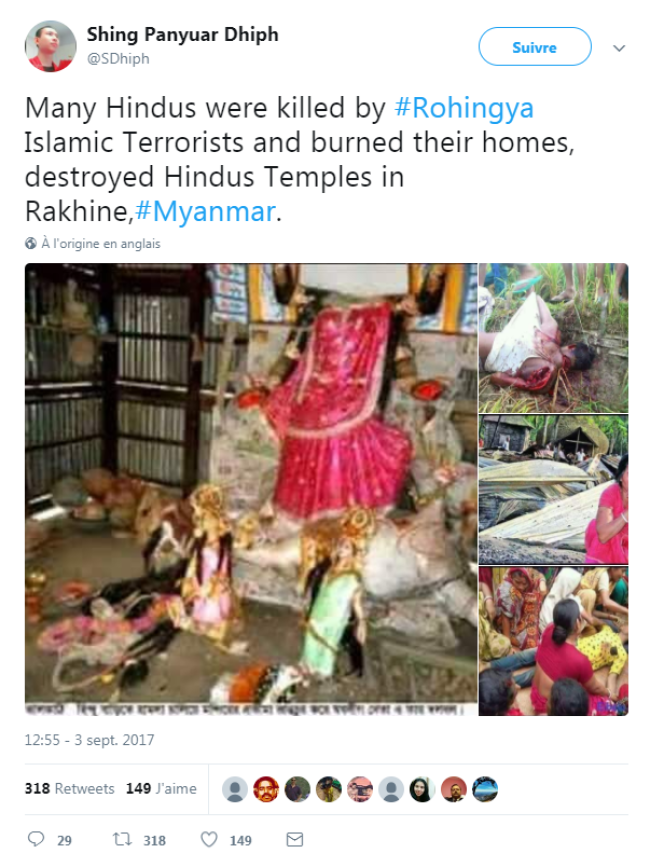 Les photos rapportées par cet internaute qui se présente comme un journaliste Birman sont mal attribuées