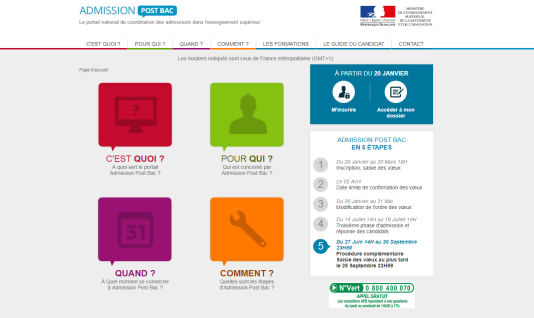 Capture d'écran du site d'Admission Post Bac