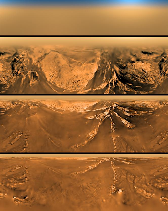 Images de Titan prises par Huygens, lors de sa descente dans l'atmosphère du satellite, le 14 janvier 2005. ESA/NASA/JPL/University of Arizona