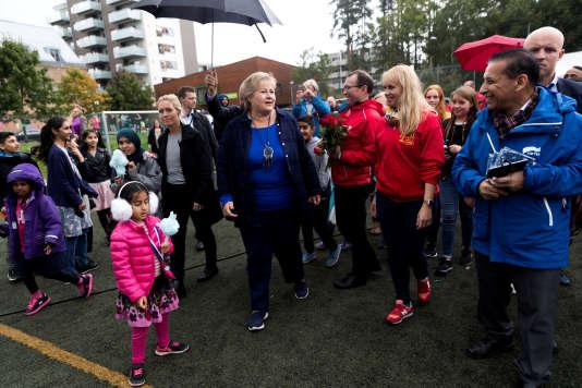 La première ministre norvégienne Erna Solberg lors de lacampagne électorale des législatives à Oslo.