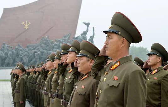 Des soldats célèbrentle 69e anniversaire de la fondation, en 1948, de la République populaire démocratique de Corée (RPDC), appellation officielle de la Corée du Nord.