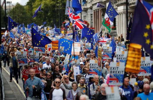 Manifestation contre le Brexit, dans les rues de Londres, le 9 septembre.