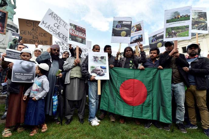 Manifestation de soutien aux Rohingya à Bruxelles, le 9 septembre.