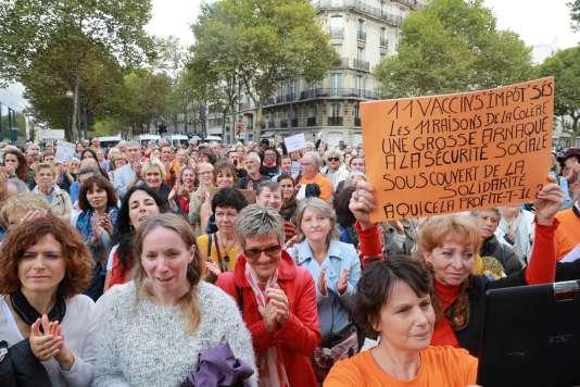 Lors de la manifestation« pour la liberté vaccinale» le 9 septembre à Paris.