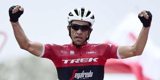 Alberto Contador lors de sa victoire, sur le Tour d'Espagne, le 9 septembre 2017. / AFP / JOSE JORDAN