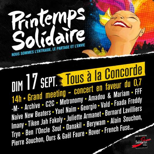 Affifiche du meeting-concert de Printemps solidaire, place de La Concorde, à Paris, dimanche 17 septembre.