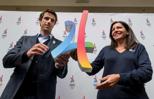 Tony Estanguet et Anne Hidalgo après l'obtention des JO 2024, à Lima le 13 septembre 2017.