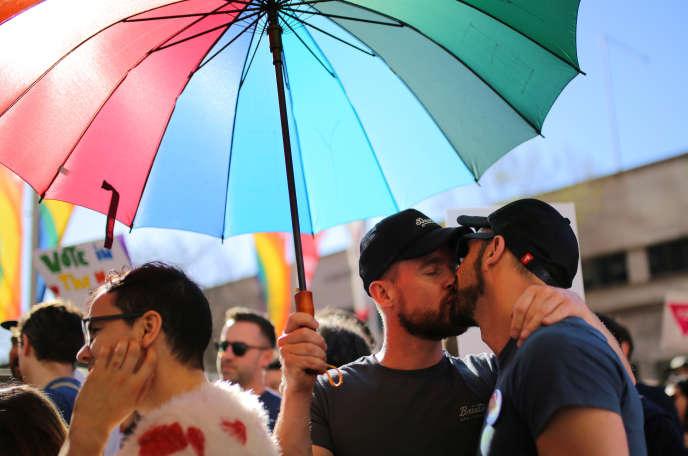 Lors d'une manifestation pour le mariage homosexuel, à Sydney, le 10 septembre.