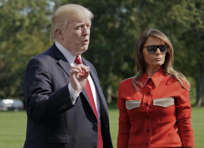Melania Trump a assorti sa chemise Calvin Klein à la cravate de son époux, le 10 septembre 2017.