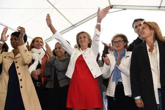 La présidente de la région Ile-de-France, Valérie Pécresse, lance son mouvement, appelé Libres!, à Argenteuil (Val-d'Oise), le 10 septembre.