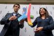 Tony Estanguet et Anne Hidalgo après l'obtention des JO2024, à Lima le 13septembre 2017.