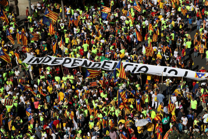 Manifestation pour l'indépendance de la Catalogne, à Barcelone, le 11 septembre.