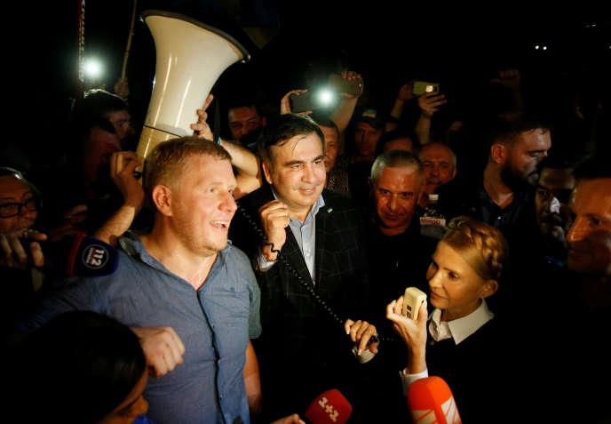 Mikheïl Saakachvili et Ioulia Timochenko, le 10 septembre au poste-frontière Medyka-Cheguyni.