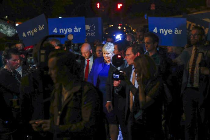 La première ministre norvégienne, Erna Solberg, le 11 septembre à Oslo.