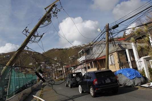 A Charlotte Amalie, Saint Thomas, dans les îles Vierges américaines, après le passage d'Irma, le 10 septembre.