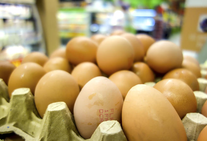 Des œufs en vente dans un supermarché de Lille, le 11août 2017, en plein scandale du fipronil.