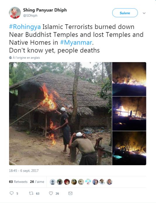 Les photos rapportées par cet internaute ont été manipulées par le gouvernement birman