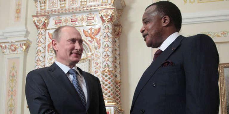 Vladimir Poutine et Denis Sassou-Nguesso, le 13 novembre 2012 près de Moscou.