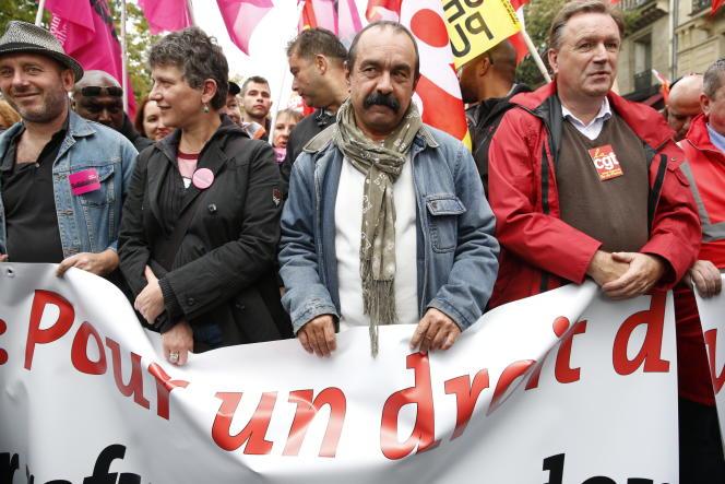 Philippe Martinez, lors de la journée de manifestations du 12 septembre contre les modifications du code du travail, à Paris.