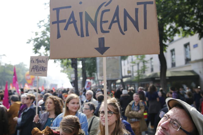 Lors de la journée de manifestations du 12 septembre contre les modifications du code du travail, à Paris.