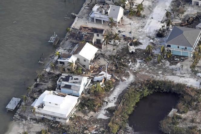 Des maisons endommagées, le 11 septembre 2017, dans l'archipel des Keys (Floride), après le passage de l'ouragan Irma.