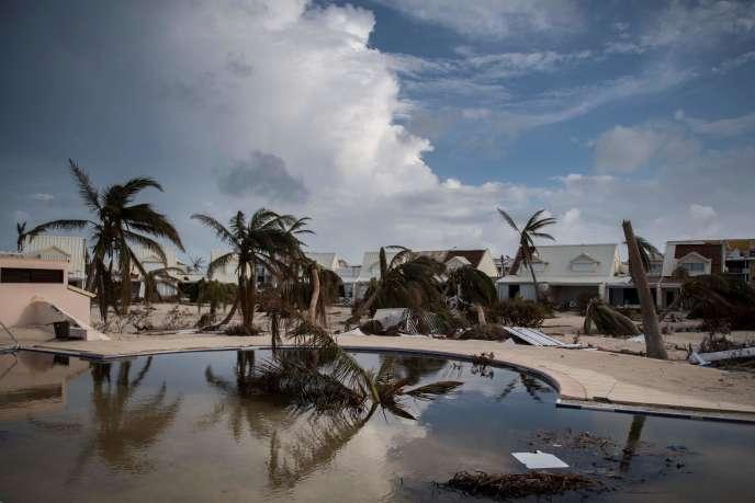 Dans la baie Nettlé près de Marigot, sur l'île de Saint-Martin, après le passage de l'ouragan Irma le 10 septembre.
