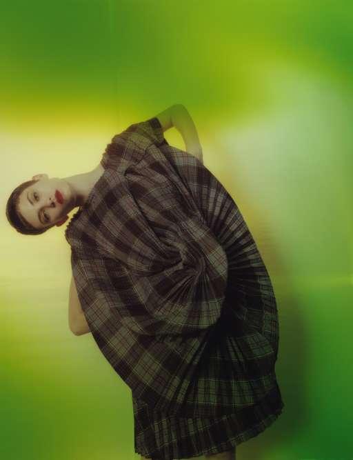 Robe imprimé tartan en laine et polyester, Junya Watanabe.