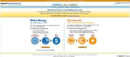 L'écran d'accueil d'Amazon Mechanical Turk.
