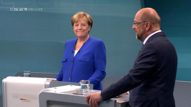 Angela Merkel et Martin Schulz, lors du débat télévisé du 3 septembre.