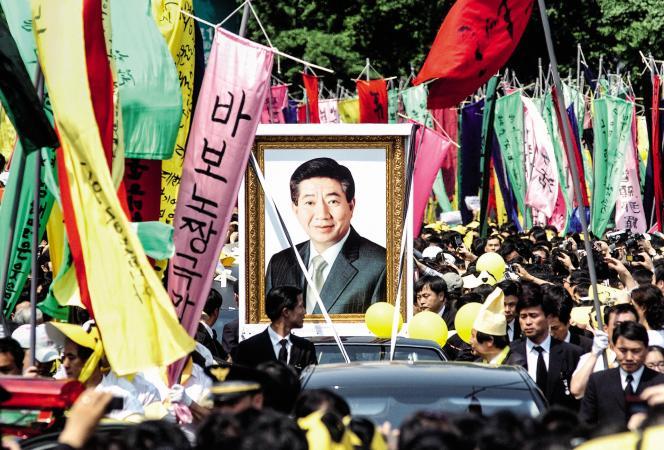 Lors des obsèques de Roh Moo-hyun, en mai 2009.