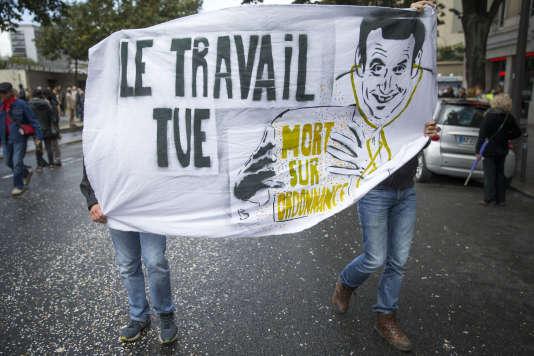 Manifestation contre la réforme du code du travail, à Paris, le 12 septembre.