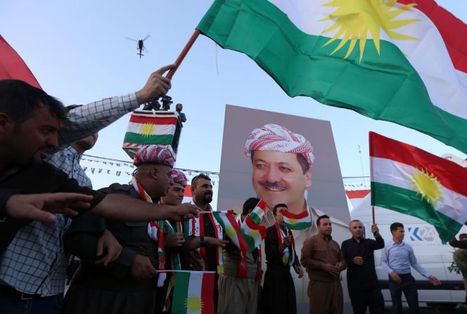 Des Kurdes lors d'un rassemblement en faveur de l'indépendance du Kurdistan irakien,à Erbil, le 13septembre.