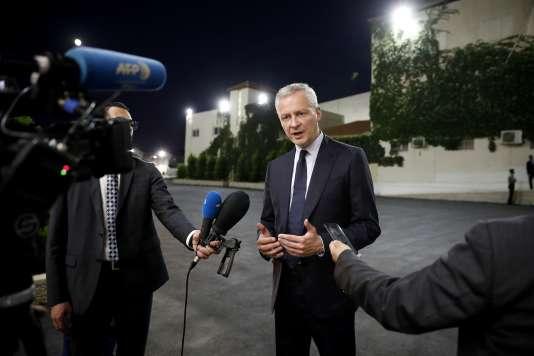 Le ministre de l'économie Bruno Le Maire en visite à Ramallah, au nord de Jérusalem, le 4 septembre.