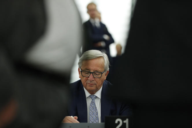 Jean-Claude Juncker, le président de la Commission, au Parlement européen, à Strasbourg, le 13 septembre.