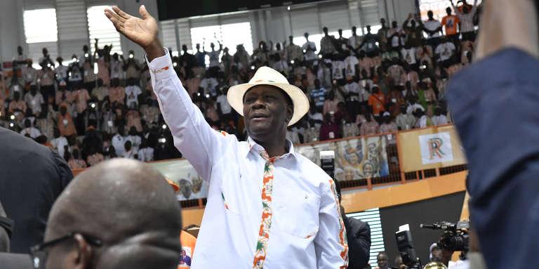 Le président ivoirien Alassane Ouattara lors du congrès du Rassemblement des républicains, à Abidjan, le 10 septembre 2017.