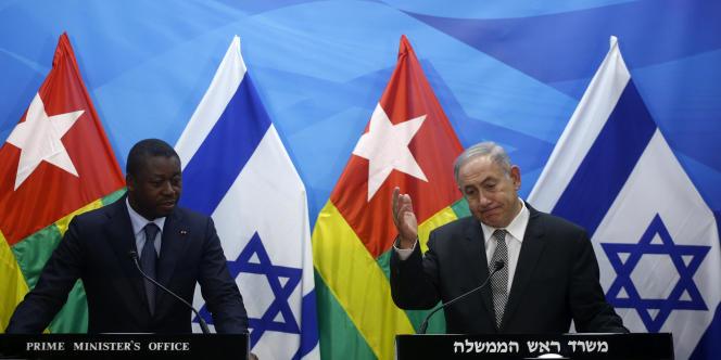 Le 10 août 2017 à Jérusalem, le président togolais Faure Gnassingbé et le premier ministre israélien Benyamin Nétanyahou.
