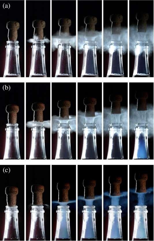 Trois séquences d'images, prises toutes les 400 microsecondes, de l'expulsion du bouchon debouteilles de Champagne à 6°C, 12°C et 20°C