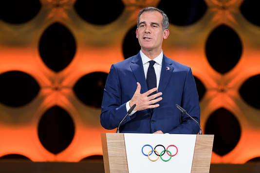 Le maire de Los Angeles, Eric Garcetti, après l'annonce del'attribution des Jeux olympiques de 2028 à sa ville, le 13 septembre à Lima.