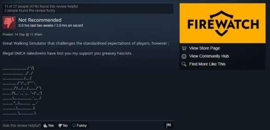 Un des commentaires publiés sur la page Steam de« Firewatch».