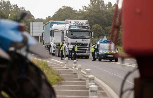 Un blocage de poids-lourds entre Dax et Mont-de-Marsan, le 15 septembre.