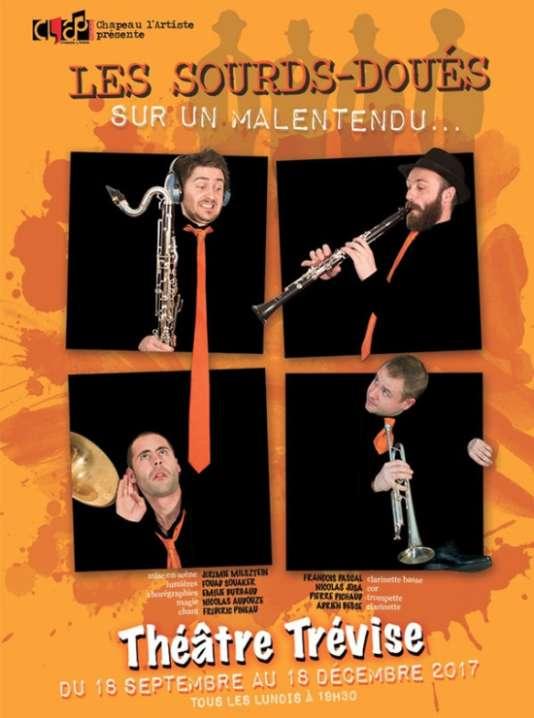 Affiche du spectacle « Sur un malentendu», par les Sourds-Doués, au Théâtre Trévise, à Paris.