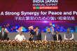 Le premier ministre japonais, Shinzo Abe, et son homologue indien, Narendra Modi, lors du Sommet des entreprises Inde-Japon à la Convention Mahatma Mandir à Gandhinagar, dans l'État de Gujarat, le 14 septembre.