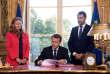 Nicole Belloubet, Emmanuel Macron et Christophe Castaner, le 15septembre.