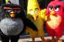 Bomb, Chuck et Red, les personnages d'Angry Birds, à Helsinki, en mai 2016.