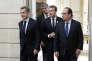 Nicolas Sarkozy, Emmanuel Macron et François Hollande, à l'Elysée, le 15 septembre.