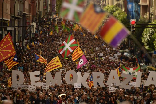 Manifestation en faveur du référendum catalan, le 16septembre, à Bilbao (Pays basque).