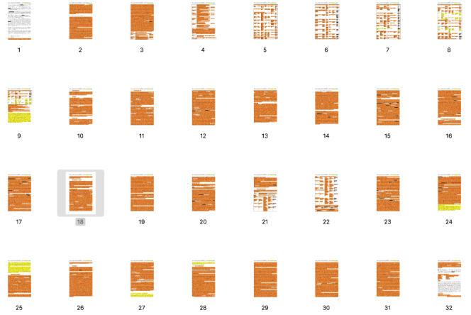 Les 32 premières pages (sur 46) du chapitre sur la génotoxicité du glyphosate, dans le rapport du BfR. Les passages surlignés en orange sont copiés de documents industriels.