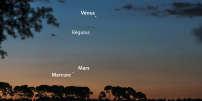 Le ciel du dimanche 17 septembre, au-dessus de l'horizon est-nord-est, une heure avant le lever du Soleil.